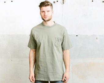 Vintage T-Shirt . Men's 90s Cotton T-Shirt Khaki Green Tee Shirt Yeezy Style T-shirt Boyfriend Gift Hipster T-shirt Normcore . size Xl