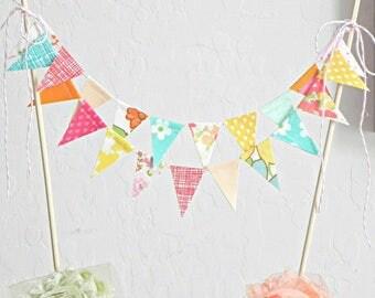 Bunting Cake Topper, Smash Cake Topper, Fruit Birthday, Circus Cake Topper, Cake Garland, Bunting Topper, Cake Bunting, Colorful Cake Topper