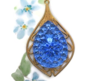 Vintage Filigree Pendant glass Sapphire Pressed Floral Rose Teardrop Flower Shabby chic (1122M)