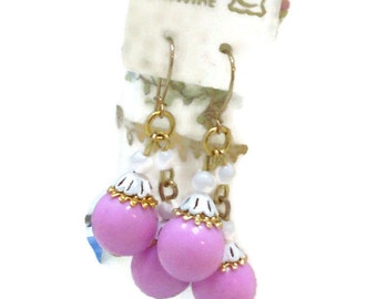 Vintage Shabby Chic Earrings 14 KT G.F Earwire Filigree Enamel Bead Caps Pastels Pink Cottage Chic