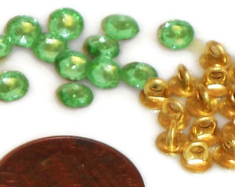 Vintage Buttons,button Kit, Doll Clothes, Rhinestone Buttons, Tiny buttons kit,Mini buttons,Dolls Clothing Peridot Glass Brass Shanks #743A