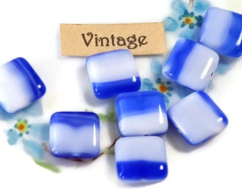 Czech beads,Vintage Glass Beads,Blue beads,Square beads,Striped Cobalt Chalk CZECH NOS White Cottage chic Nautical Blue and white #1677