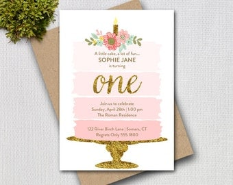 Pink and Gold First Birthday Invitation, Pink Ombre Cake, Printable Digital Invitation, 1100
