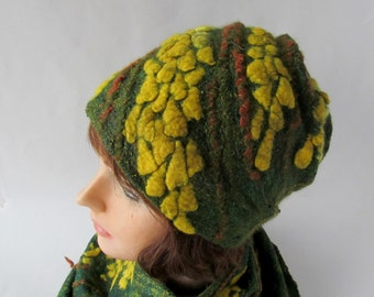 Clothing gift Felted hat, Green Yellow wool hat, Felt winter warm hat, Wool Hat Unisex, Warm felt hat Green Yellow felted hat outdoors gift