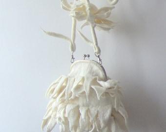 Fur purse Felted handbag Unique purse  White purse original bag gift for her Wedding bag bride purde by Galafilc