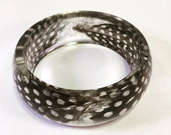 Guinea Feathers Resin Bangle, Size Medium, Black, White And Clear, Made With Real Feathers