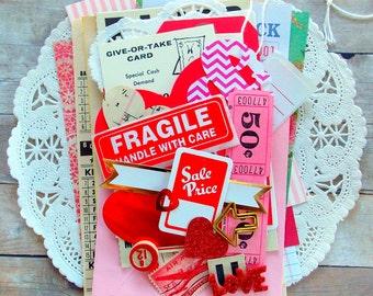 Valentine Inspiration Kit / Ephemera / 40+ Pieces / Daily Planner / Valentines Day / Junk Journal