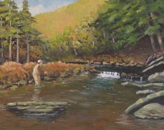 Fly Fishing Art, original oil painting, Fathers Day Gift, 11x14