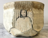Buddha Tea Bowl Chawan Marbled Glazed Stoneware Art Vessel, Bas Relief Sculpture Cup Agateware