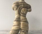 Nude Torso Vase Sculpture, Female Figure Vessel Erotic Ikebabna Jar, Mature Classical Surreal Art Figurine Fragment