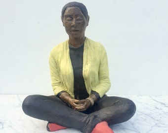 Vipassana sculpture, ceramic buddha woman figurine sitting in meditation, I can feel my attachments unravelling, yoga art