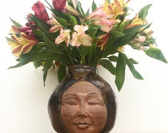 Face Vase Buddha Head Sculpture Vessel Open Mind Ikebana Pot, Round Storage Jar Figure Art