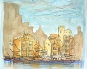 Original Watercolor Ink Painting Abstract Art, Singapore City Shophouses, River Landscape, Plein Air, Square Art, Impressionist, Whimsical