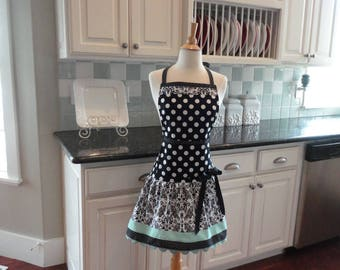 Seaside Damask  - READY TO SHIP - Ellie Style Women's Apron ~ 4RetroSisters