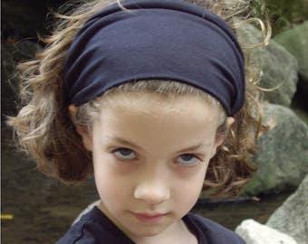 Girl's Black Headband, Stretchy Headwrap, Jersey Knit Head Wrap, Girl's Hair Loss Headband, Solid Black Hair Band (#1001) S M L X