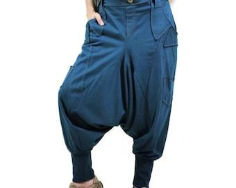 Men Women Funky Ninja Harem Dark Teal Green Cotton Jersey Drop Crotch Pants With 6 Pockets