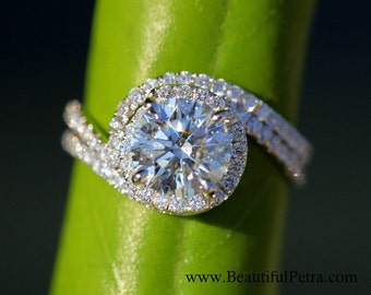 14k White gold - Diamond Engagement Ring and Wedding band set - Halo - UNIQUE -  Thin Swirl - Pave - Weddings- Luxury- Brides - Bp0013