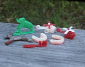 Vintage Plastic Cracker Jack Toys, Gumball Prize Lot Elephant, Donkey, False Teeth, 2X Helicopter, Brush