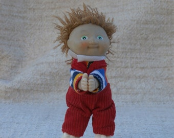 1980s Era Cabbage Patch Kids Doll Clip On Toy Figure, Brown Hair, Overalls, Mini