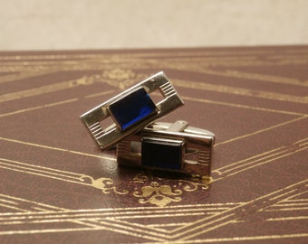 Foster Mens Cufflinks, Rectangle with Cobalt Blue Insets, Silver toned