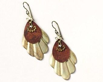 Large fan earrings vintage parts assemblage boho brass earrings riveted golden fan