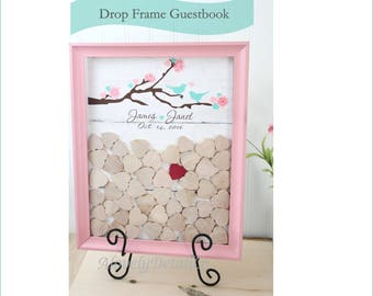 wedding guestbook Drop box  top shadow box   -  DropBox guest book - birds in love guestbook  pink guestbook - blush Drop top Guestbook