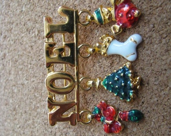 Gold tone NOEL brooch pin with red, green white  Christmas holiday dangles
