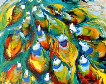 Peacock painting in oil palette knife abstract impressionism on canvas 10x20 fine art by Karen Tarlton