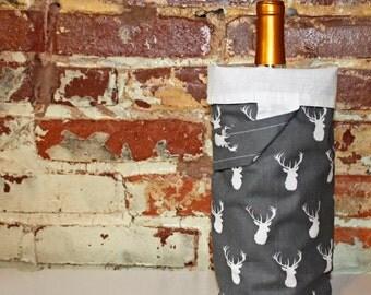 Wine Tote - Wine Bag - Grey Stag Head Print