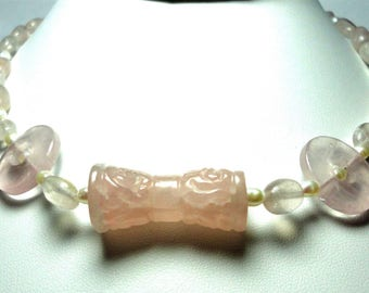 Rose Quartz Necklace Rose Quartz Carved Bow Shaped Center Bead with Rose Quartz Beads Pearls and Sterling