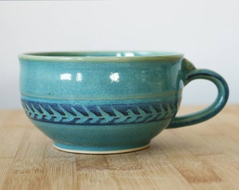 Cappuccino / wide latte style cup in Ocean Jade with leaf pattern- ready to ship
