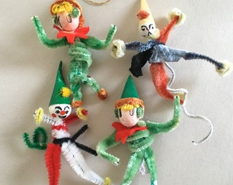Vintage NOS Chenille Pipecleaner People Christmas Decor Gift Wrap