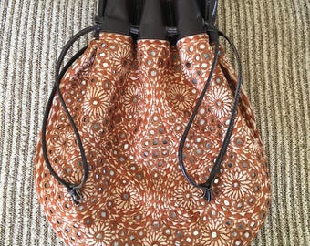 Vintage Boho Mirrored Leather Bag 1960s-70s Purse