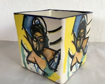 Vintage Modern Mexican Garden Pot Ceramic Planter