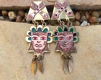 Vintage Mexican Guadalajara Figural Earrings Aztec Style