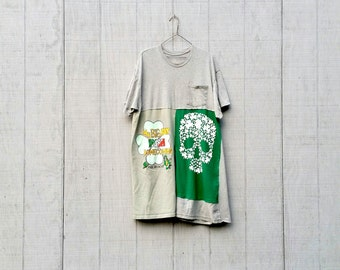 St. Patricks Day Shirt, Upcycled Tunic, Skull Shirt, Patchwork Dress, Eco Dress, Fun Clothes, Wearable Art, Quality Clothing,