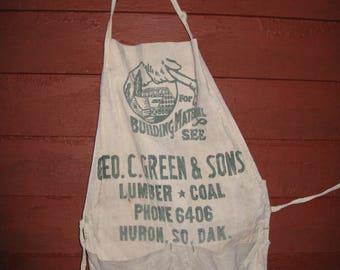 Full Carpenter Apron Advertising Lumber Coal Huron South Dakota Geo Green & Sons