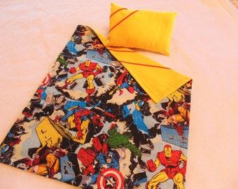 "Doll Bed Set, 18"" Doll or Stuffed Animal Bed Set, Superheros Theme"