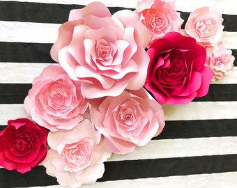 Large paper flower backdrop for weddings showers and photo walls. Pink paper flower nursery decor, Kate Spade Inspired Paper Flower Wall Art
