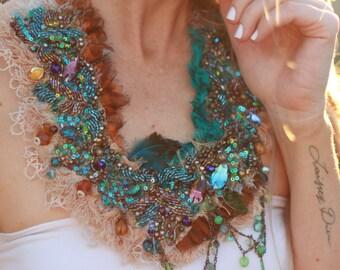 gypsy peacock beaded necklace, boho beaded turquoise neckpiece, textile necklace, beaded bib necklace, teal beaded necklace