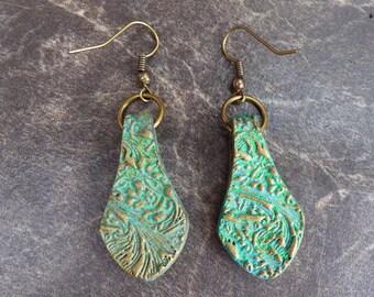 Verdigris polymer clay earrings