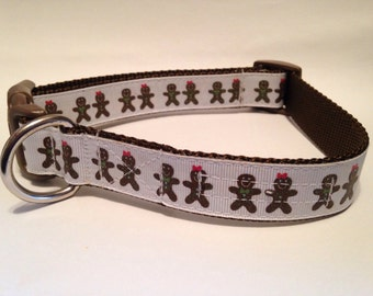 LARGE Gingerbread holiday dog collar
