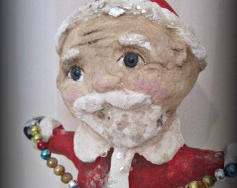 Folk art - Santa Claus- Belsnickel- paper mache- handmade art doll- OOAK doll-papier mache