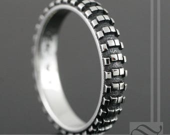 Dirt Bike Tire Tread Ring- Narrow Version - Sterling Silver