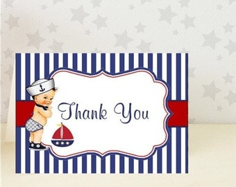 Nautical Thank You Card /Ahoy it's a boy / Baby Shower / 10 PRINTED Cards / with envelopes