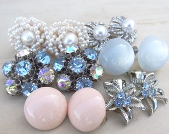 6 Pairs. Matching Vintage Earrings Clip On Lot. Blue Sapphire Rhinestone Cluster, Pearl Cluster, Moonglow Blue, Pink, Rhinestone Destash E34