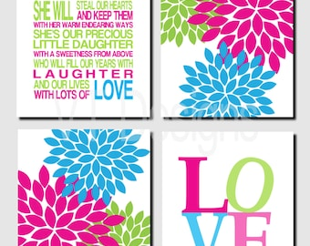 Pink Green Wall Art, Nursery, Bright Colors, Kids Wall Art Hot Pink Lime Green Turquoise Modern Love She Is Our Daughter Set of 4 Art Prints