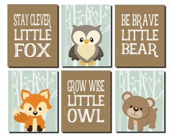 Woodland Wall Art, Sage Green Wall Art, Kids Wall Art, Toddler Boy, Bear, Stay Clever Fox, Grow Wise Little Owl, Set of 6, Prints or Canvas