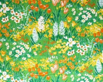 Yardage of retro floral fabric. Cotton decorator fabric, flower power fabric, spring floral fabric, tulips, daffodils, green yellow fabric