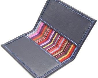 Slim wallet, blue leather card holder with stripe lining